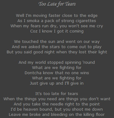 Too Late for Tears